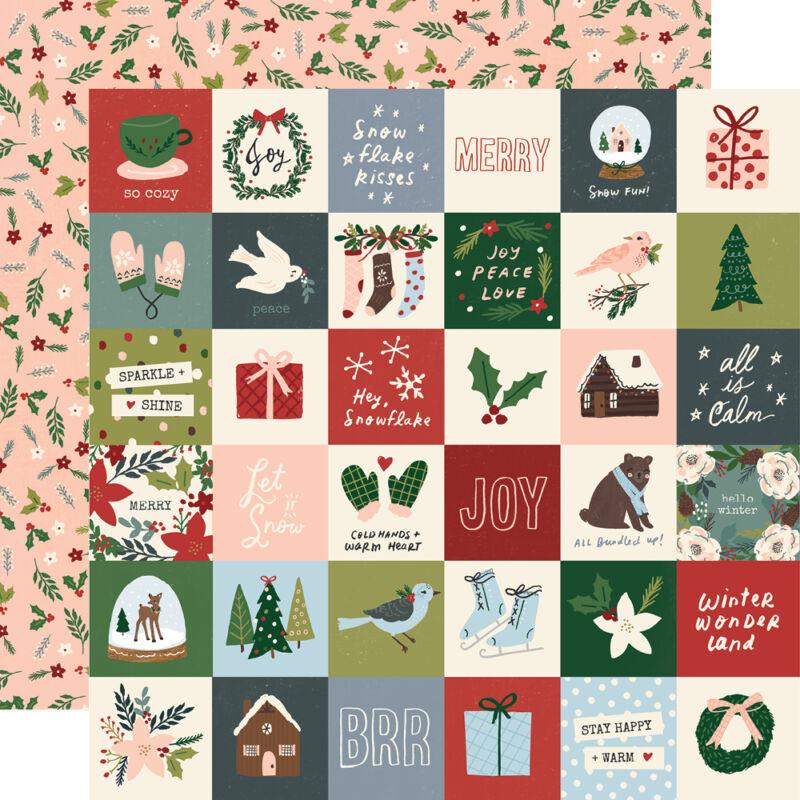 Simple Stories - Winter Cottage 12x12 papír - 2x2 Elements
