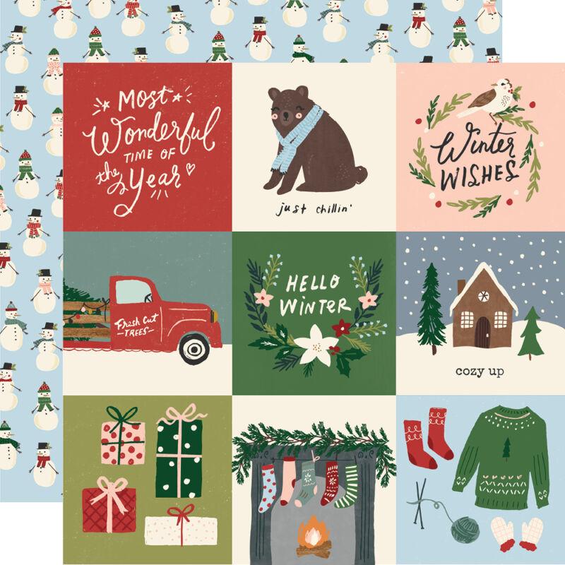 Simple Stories - Winter Cottage 12x12 Paper - 4x4 Elements