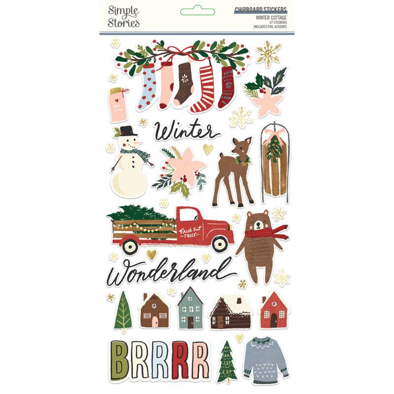 Simple Stories - Winter Cottage 6x12 chipboard matrica (37 db)