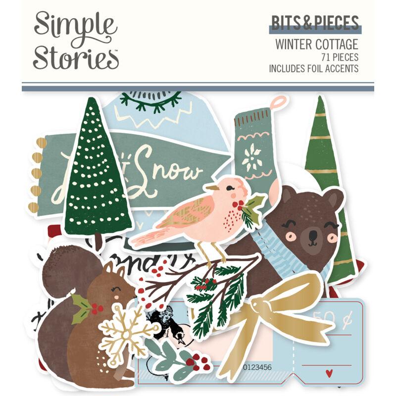 Simple Stories - Winter Cottage Bits & Pieces Die Cut  (71 pieces)
