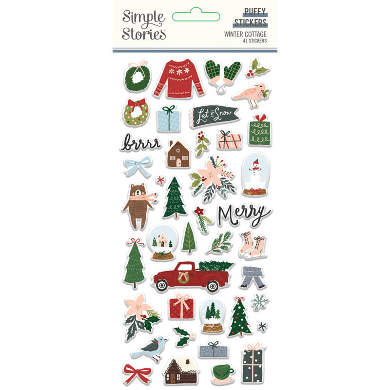 Simple Stories - Winter Cottage Puffy Stickers (41 pieces)