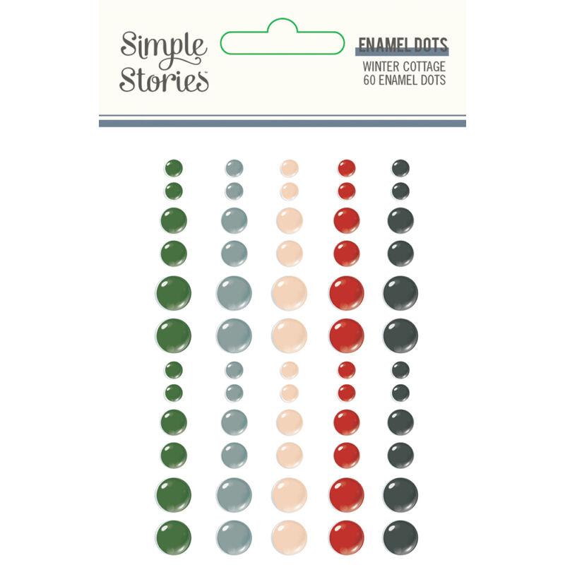 Simple Stories - Winter Cottage enamel pötty (60 db)
