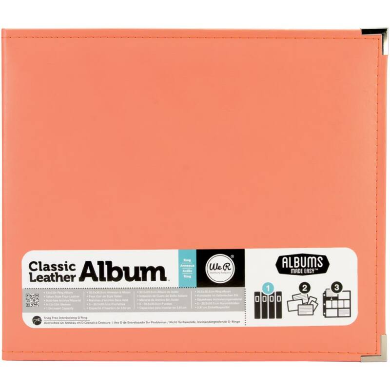We R Memory Keepers 12x12 Classic Leather Album - Coral